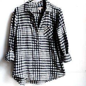 target collar plaid 1/2 button down women's shirt